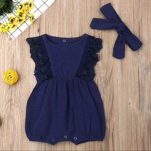 Other - 4th of july Navy Ruffle Lace Romper 🇺🇸❤️💙